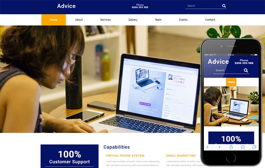 Advice a Corporate Business Flat Bootstrap Responsive Web Template Mobile website template Free