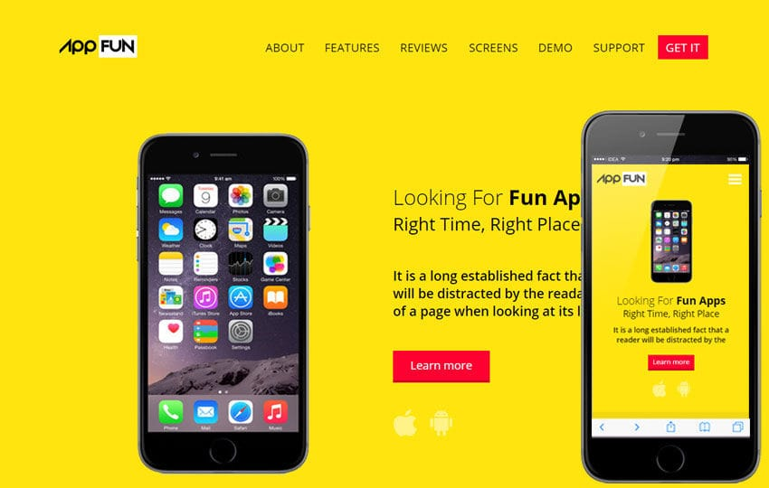 App Fun a Mobile App Landing Flat Bootstrap Responsive Web Template Mobile website template Free