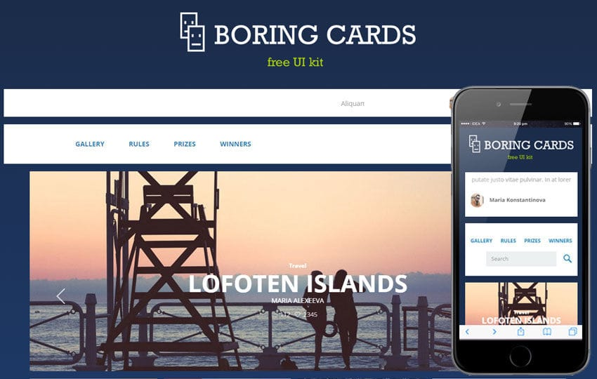 Boring Cards UI Kit a Flat Bootstrap Responsive Web Template Mobile website template Free