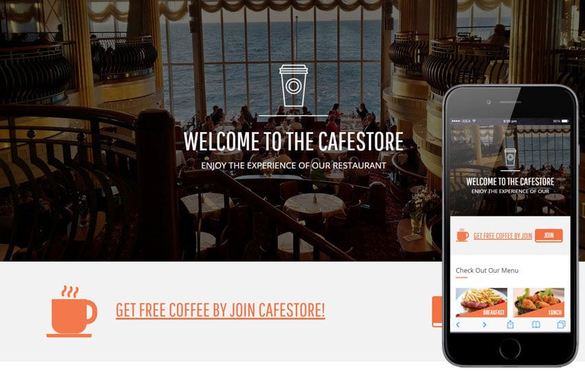 Cafe Store a Hotel Category Flat Bootstrap Responsive Web Template Mobile website template Free