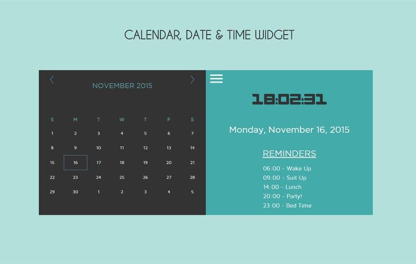 Calendar Date Time Responsive Widget Template
