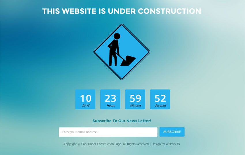 Cool Under Construction Page Flat Responsive Web Template Mobile website template Free