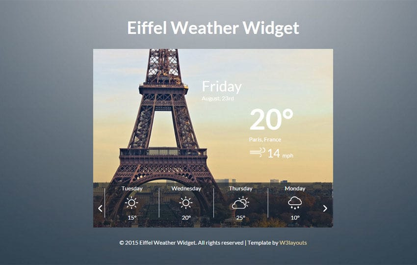 Eiffel Weather Widget Responsive Template
