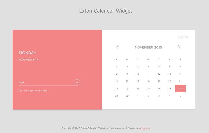 Exton Calendar Responsive Widget Template