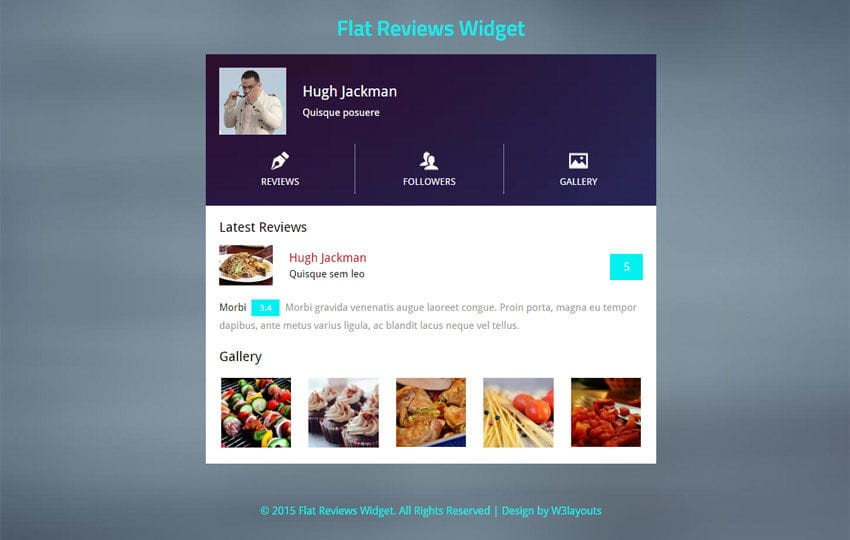 Flat Reviews Responsive Widget Template