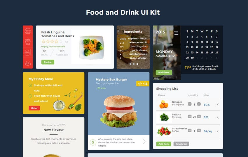 Food and Drink UI Kit a Flat Bootstrap Responsive Web Template Mobile website template Free