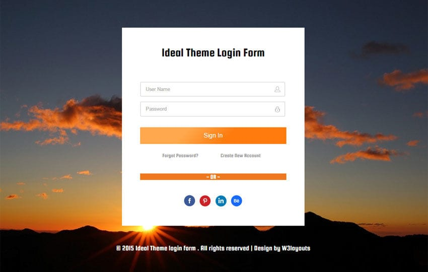 Ideal Theme Login Form Responsive Widget Template