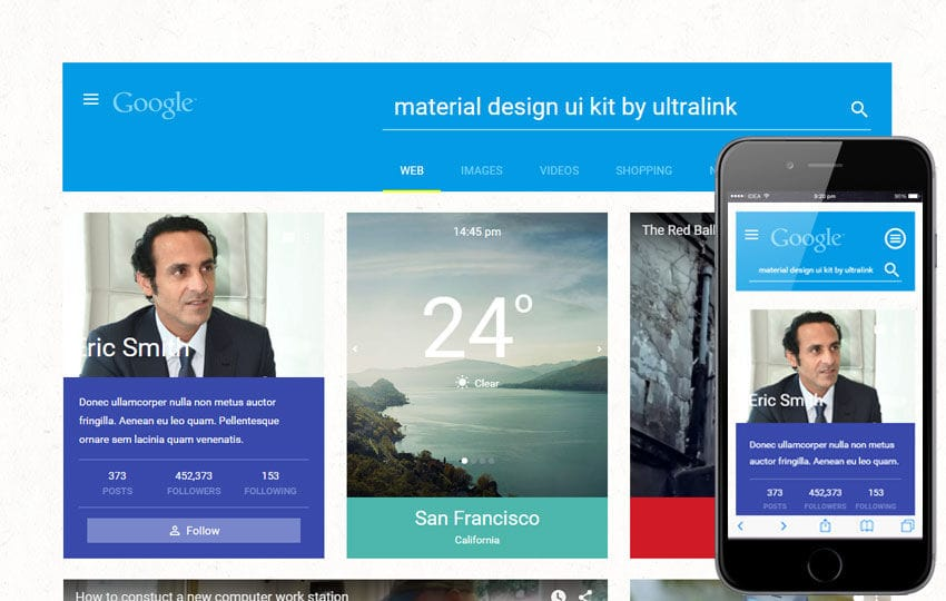 Material UI Kit a Flat Bootstrap Responsive Web Template Mobile website template Free