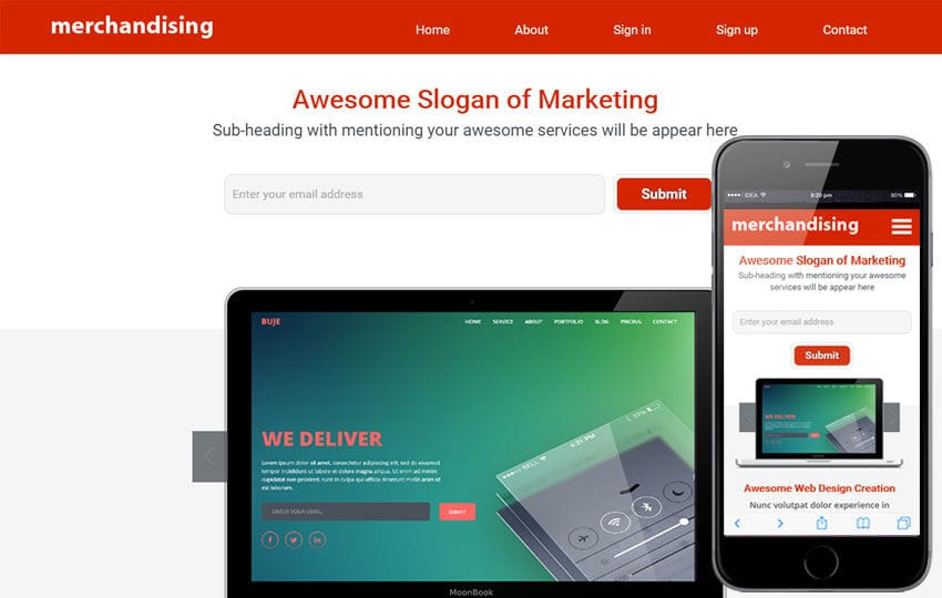 Merchandising a Corporate Portfolio Flat Bootstrap Responsive Web Template