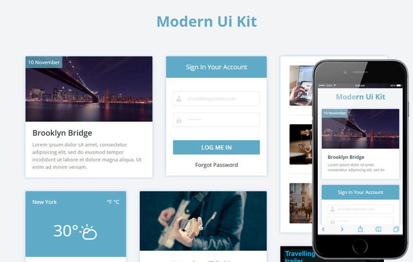 Modern UI Kit a Flat Bootstrap Responsive Web Template Mobile website template Free