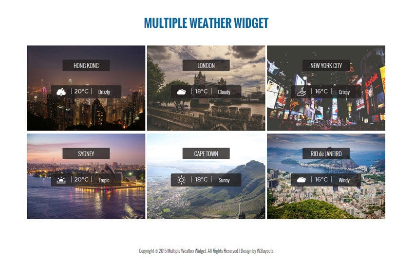 Multiple Weather Widget Responsive Template
