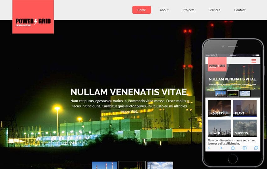 Power Grid a Industrial Category Flat Bootstrap Responsive Web Template Mobile website template Free