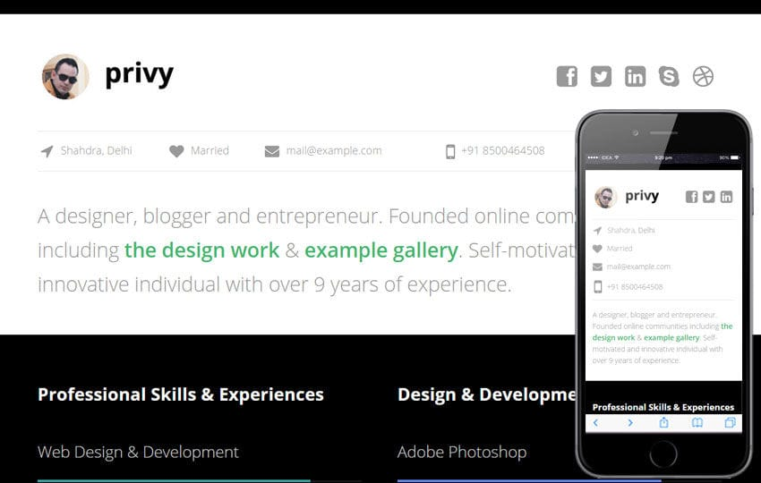 Privy a Personal Portfolio Flat Bootstrap Responsive Web Template by