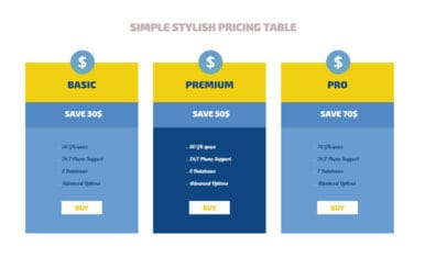Simple Stylish Pricing Tables Responsive Widget Template