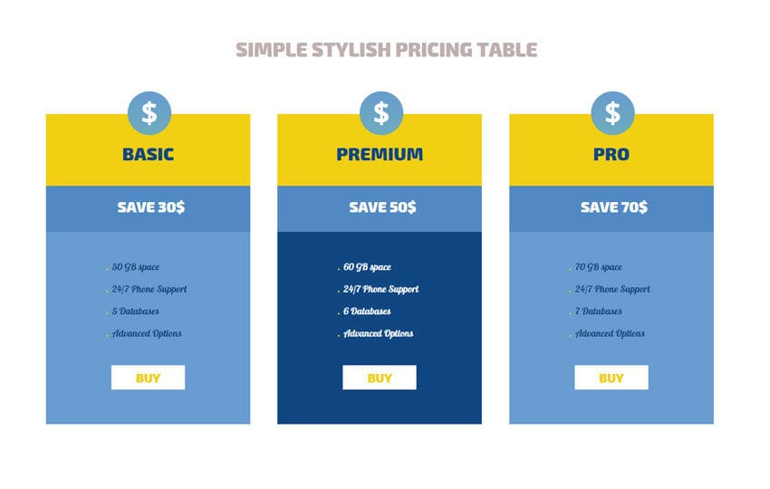 Simple Stylish Pricing Tables Responsive Widget Template Mobile website template Free