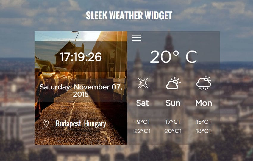 Sleek Weather Responsive Widget Template