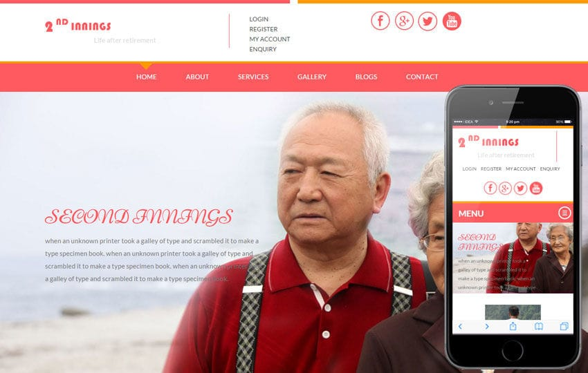 2nd Innings a People and Society Bootstrap Responsive Web Template Mobile website template Free
