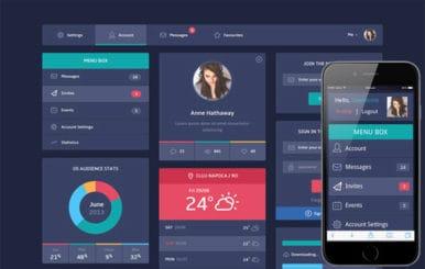 Flat Design UI Components Responsive web template