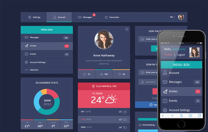 Flat Design UI Components Responsive web template Mobile website template Free