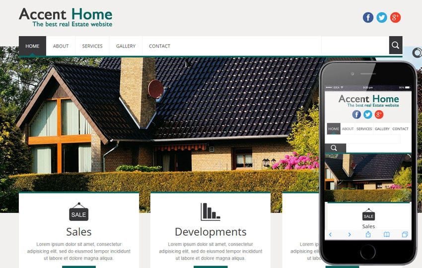 Accent Home a Real Estate Mobile Website Template Mobile website template Free