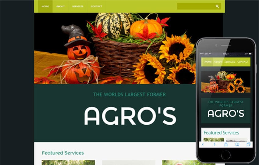 Agro- an agriculture Mobile Website Template