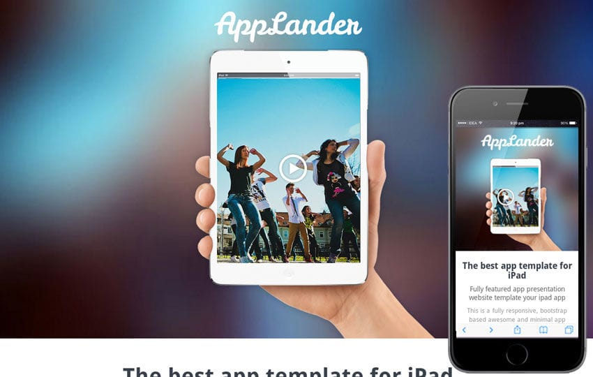 App Lander a App Based Flat Bootstrap Responsive Web Template Mobile website template Free
