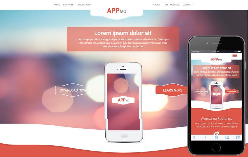 Appmo a Mobile App based Flat Bootstrap Responsive Web Template Mobile website template Free