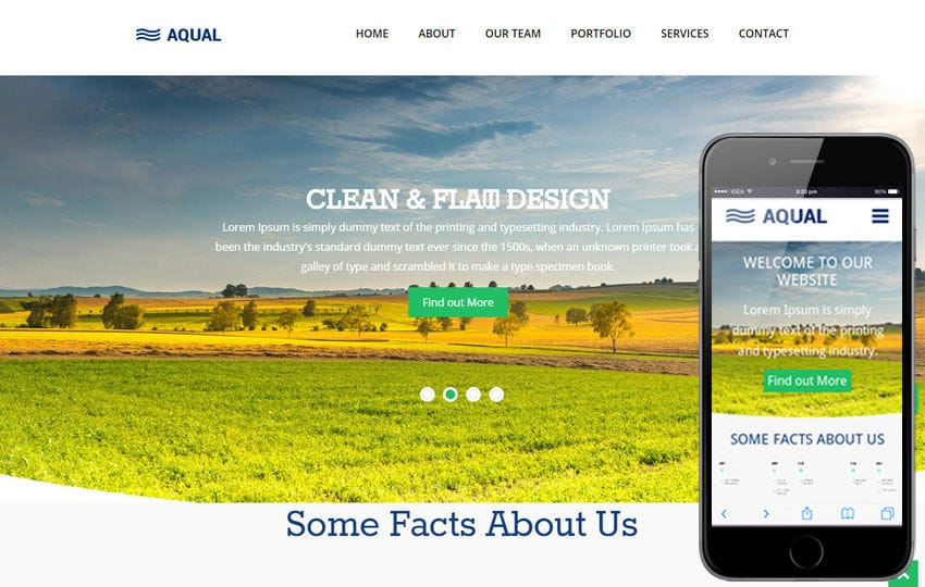 Aqual Singlepage Flat Responsive Web Template Mobile website template Free