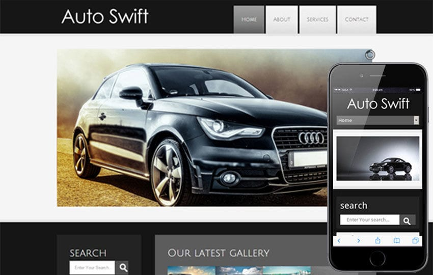 Auto Swift automobile Mobile Website Template Mobile website template Free