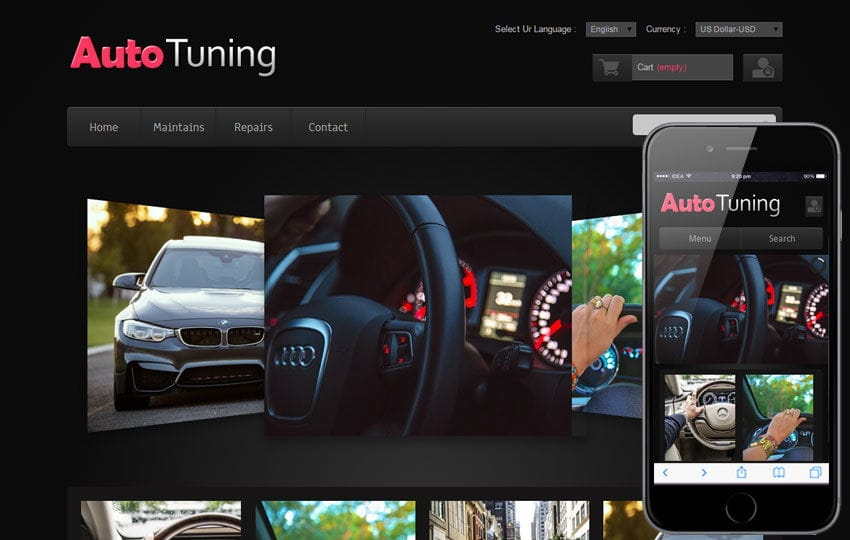 Auto Tuning automobile Mobile Website Template Mobile website template Free