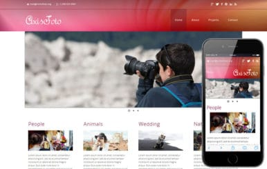 Axisfoto a photo gallery Mobile Website Template