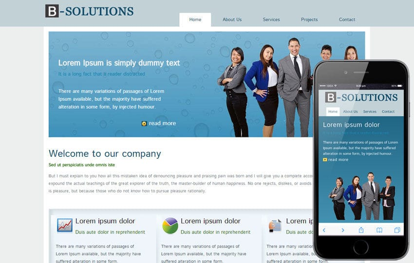 Free B-Solutions web Template for corporate business sites Mobile website template Free