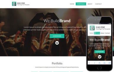 Bak One- A single page Flat Corporate Responsive website template