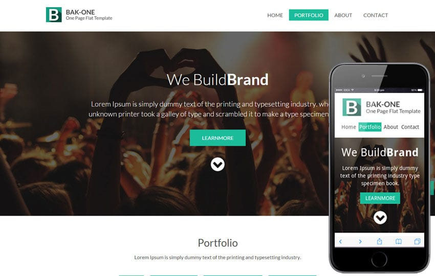 Bak One- A single page Flat Corporate Responsive website template Mobile website template Free