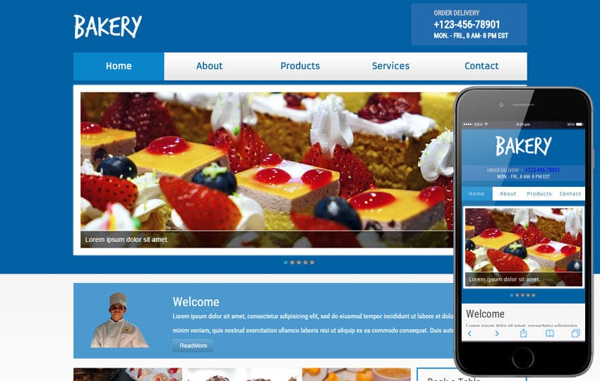 New Bakery web template and mobile website template for bakeries