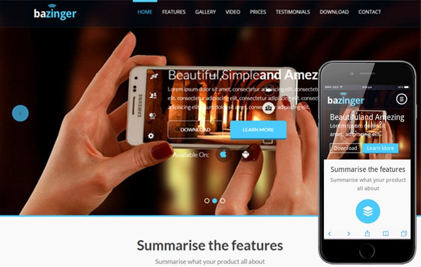 Bazinger a Mobile App based Flat Bootstrap Responsive web template Mobile website template Free