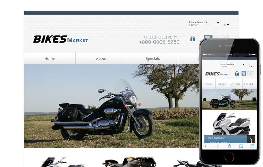 Bikes Market automobile Mobile Website Template
