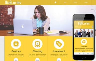 Biz Glories web and mobile website template for free