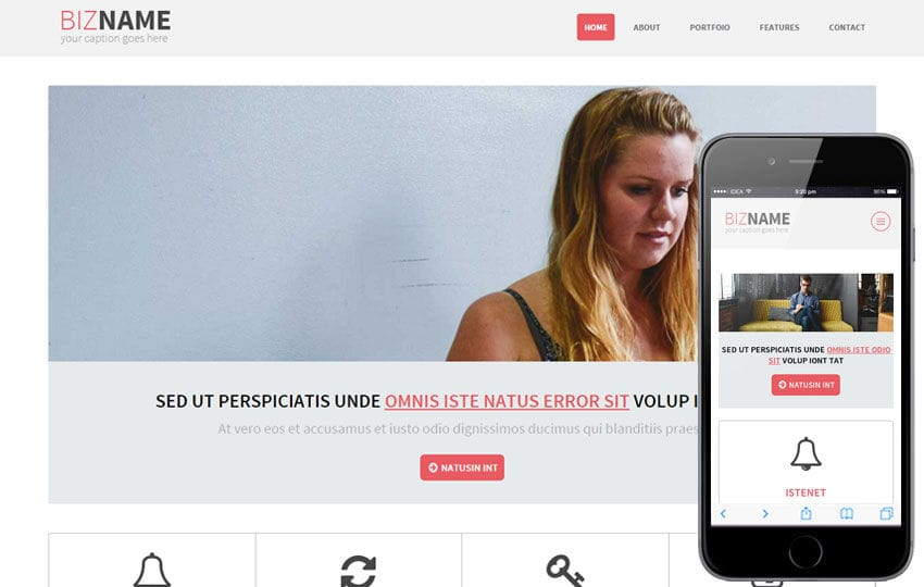 Bizname a Multipurpose Flat Bootstrap Responsive web template Mobile website template Free