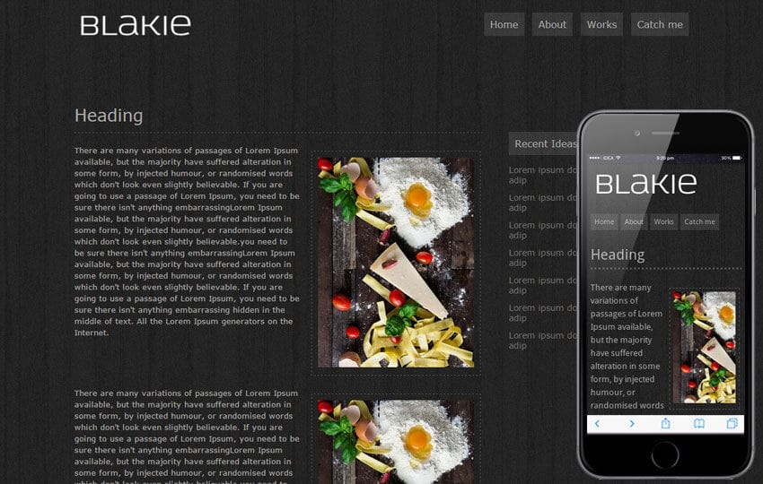 Blakie – Free Web and Mobile Website Template Mobile website template Free