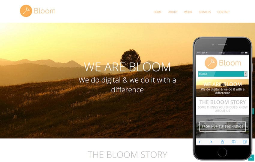 Bloom portfolio Single page Responsive website template Mobile website template Free