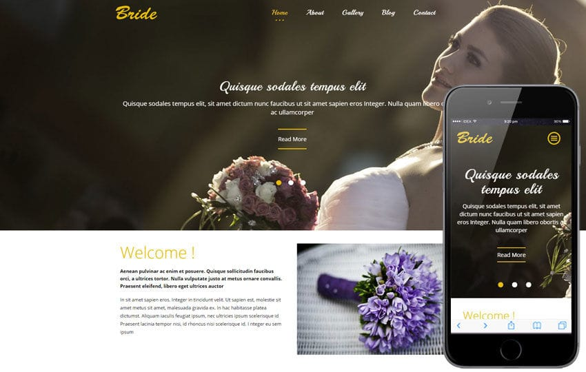 Bride a Flat Wedding Planner Bootstrap Responsive Web Template Mobile website template Free