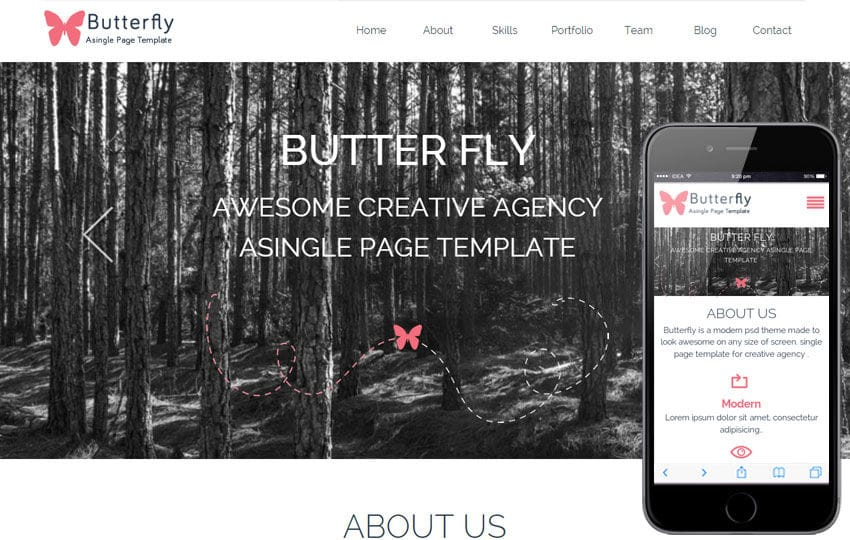 Butterfly a Corporate portfolio Flat Responsive web template Mobile website template Free