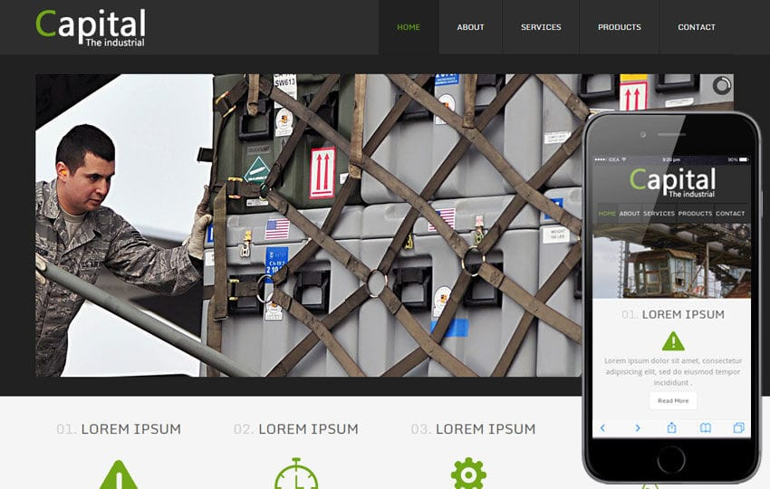 Capital a Industrial Mobile Website Template