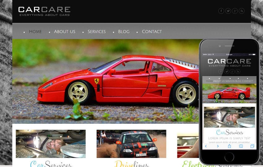 Car Care a Automobile Mobile Website Template