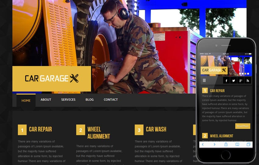 Car Garage automobile Mobile Website Template Mobile website template Free