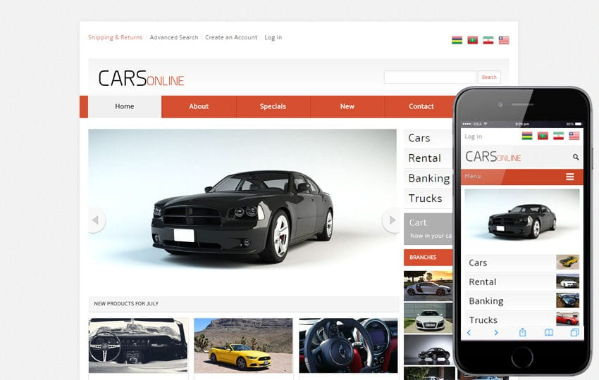 Cars Online automobile Mobile Website Template Mobile website template Free