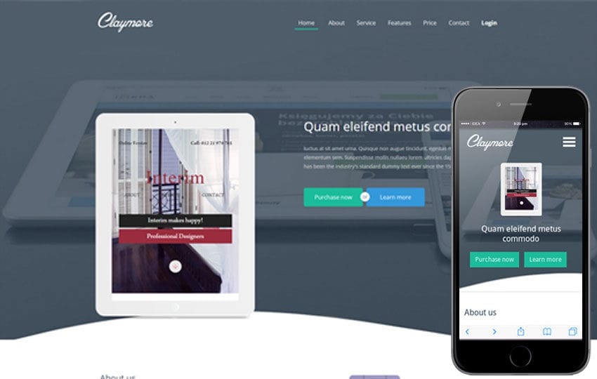 Claymore a Mobile App based Flat Bootstrap Responsive web template Mobile website template Free