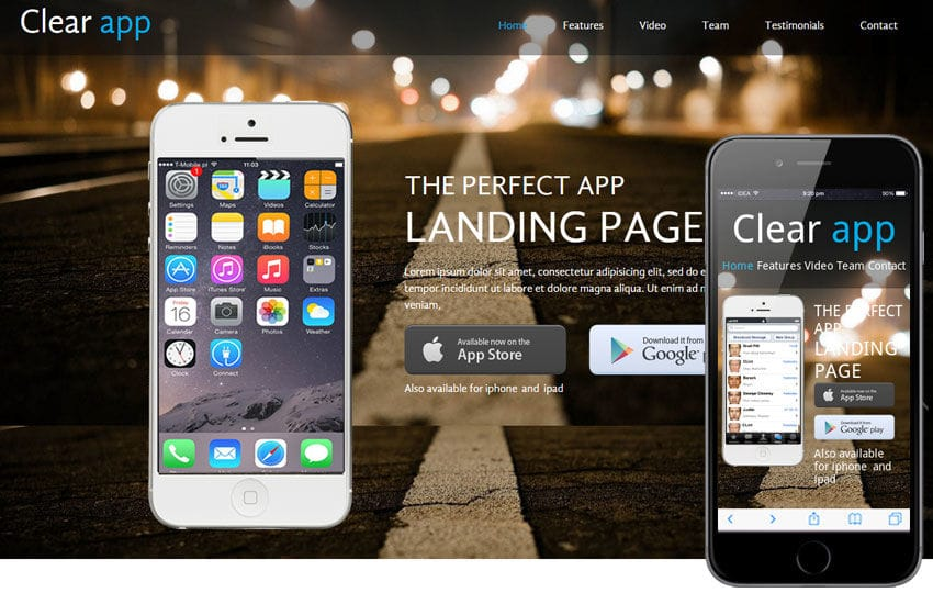 Clear a App based Mobile Website Template