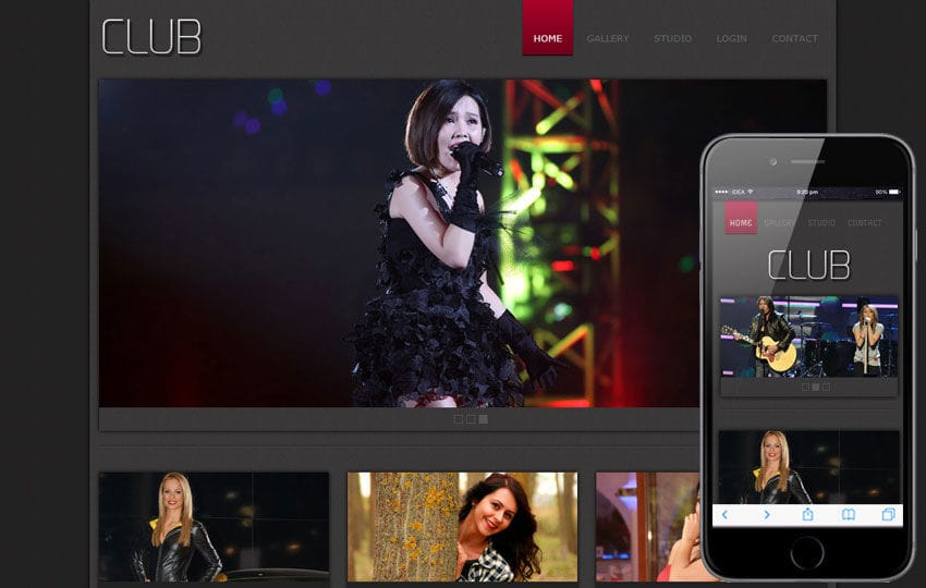 New Club gallery web template for photographers and professionals Mobile website template Free